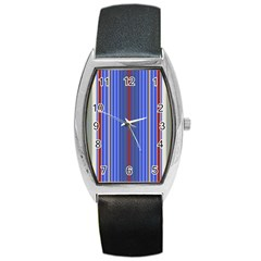 Colorful Stripes Background Barrel Style Metal Watch