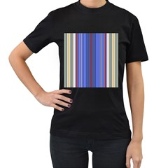 Colorful Stripes Background Women s T-Shirt (Black) (Two Sided)