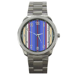 Colorful Stripes Background Sport Metal Watch
