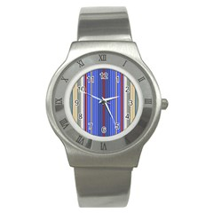 Colorful Stripes Background Stainless Steel Watch