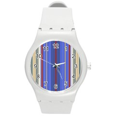 Colorful Stripes Background Round Plastic Sport Watch (m)