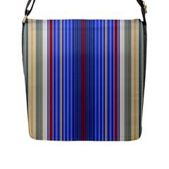 Colorful Stripes Background Flap Messenger Bag (l)