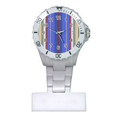 Colorful Stripes Background Plastic Nurses Watch