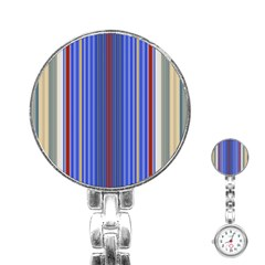 Colorful Stripes Background Stainless Steel Nurses Watch