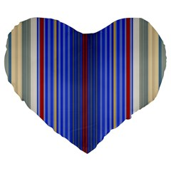 Colorful Stripes Background Large 19  Premium Flano Heart Shape Cushions