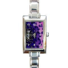 Blue Digital Fractal Rectangle Italian Charm Watch