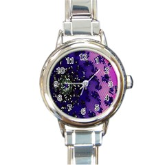 Blue Digital Fractal Round Italian Charm Watch