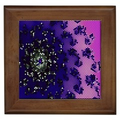 Blue Digital Fractal Framed Tiles