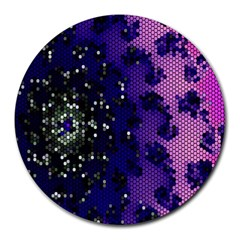 Blue Digital Fractal Round Mousepads