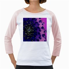 Blue Digital Fractal Girly Raglans