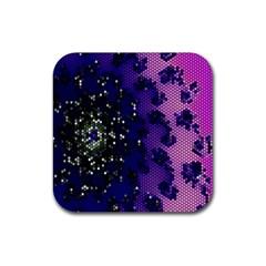 Blue Digital Fractal Rubber Coaster (Square)