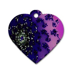 Blue Digital Fractal Dog Tag Heart (Two Sides)