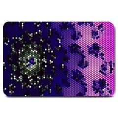 Blue Digital Fractal Large Doormat