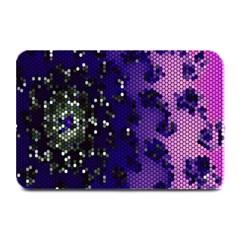 Blue Digital Fractal Plate Mats