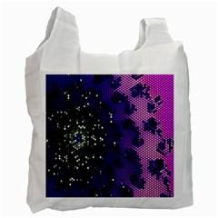 Blue Digital Fractal Recycle Bag (one Side)