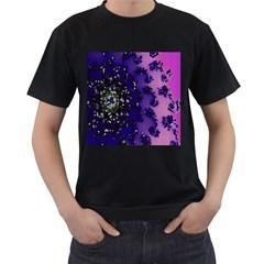 Blue Digital Fractal Men s T-Shirt (Black)