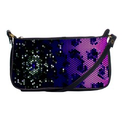 Blue Digital Fractal Shoulder Clutch Bags