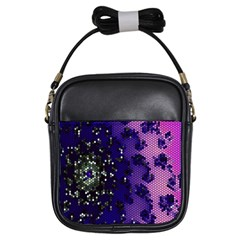 Blue Digital Fractal Girls Sling Bags