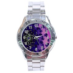 Blue Digital Fractal Stainless Steel Analogue Watch