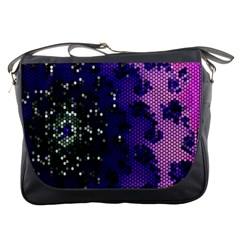 Blue Digital Fractal Messenger Bags
