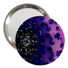 Blue Digital Fractal 3  Handbag Mirrors