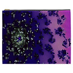 Blue Digital Fractal Cosmetic Bag (XXXL)