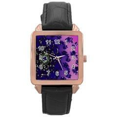 Blue Digital Fractal Rose Gold Leather Watch
