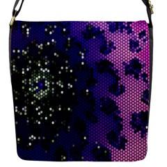 Blue Digital Fractal Flap Messenger Bag (s)