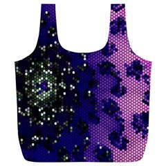 Blue Digital Fractal Full Print Recycle Bags (l)
