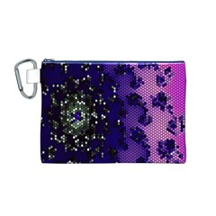 Blue Digital Fractal Canvas Cosmetic Bag (m)