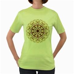 Golden Filigree Flake On White Women s Green T Shirt