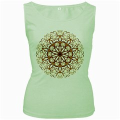 Golden Filigree Flake On White Women s Green Tank Top