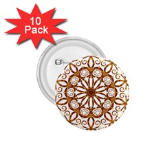 Golden Filigree Flake On White 1.75  Buttons (10 pack)
