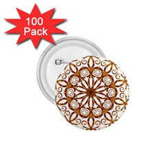 Golden Filigree Flake On White 1 75  Buttons (100 Pack)