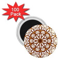 Golden Filigree Flake On White 1 75  Magnets (100 Pack)