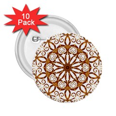 Golden Filigree Flake On White 2 25  Buttons (10 Pack)