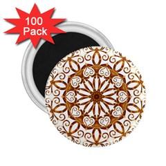 Golden Filigree Flake On White 2 25  Magnets (100 Pack)