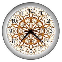 Golden Filigree Flake On White Wall Clocks (Silver)
