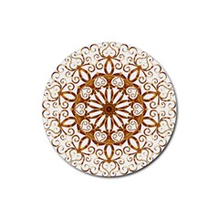 Golden Filigree Flake On White Rubber Round Coaster (4 Pack)