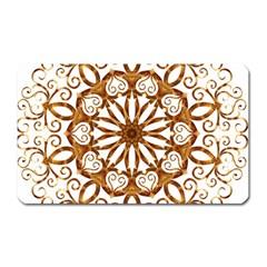 Golden Filigree Flake On White Magnet (Rectangular)