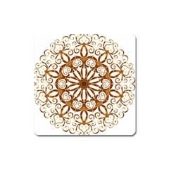 Golden Filigree Flake On White Square Magnet