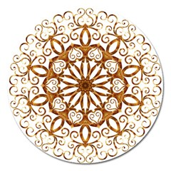 Golden Filigree Flake On White Magnet 5  (round)
