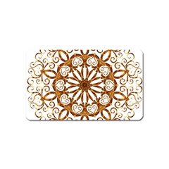 Golden Filigree Flake On White Magnet (Name Card)