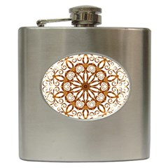 Golden Filigree Flake On White Hip Flask (6 oz)