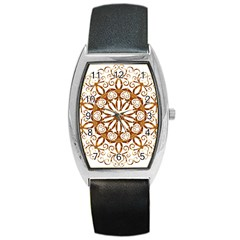 Golden Filigree Flake On White Barrel Style Metal Watch