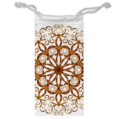 Golden Filigree Flake On White Jewelry Bag