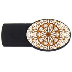 Golden Filigree Flake On White USB Flash Drive Oval (4 GB)