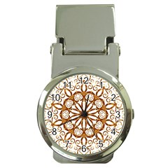 Golden Filigree Flake On White Money Clip Watches