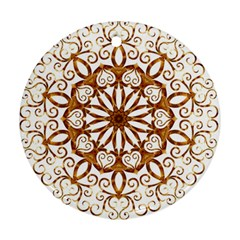 Golden Filigree Flake On White Round Ornament (two Sides)