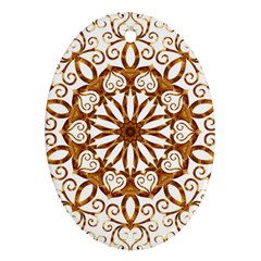 Golden Filigree Flake On White Oval Ornament (Two Sides)